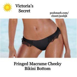 NWT Victoria's Secret Bikini Bottom Black Macrame